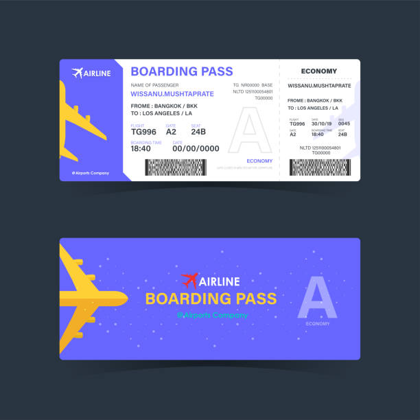 Boarding pass ticket with purple design. modern element template. vector illustration Boarding pass ticket with purple design. modern element template. vector illustration airplane ticket stock illustrations