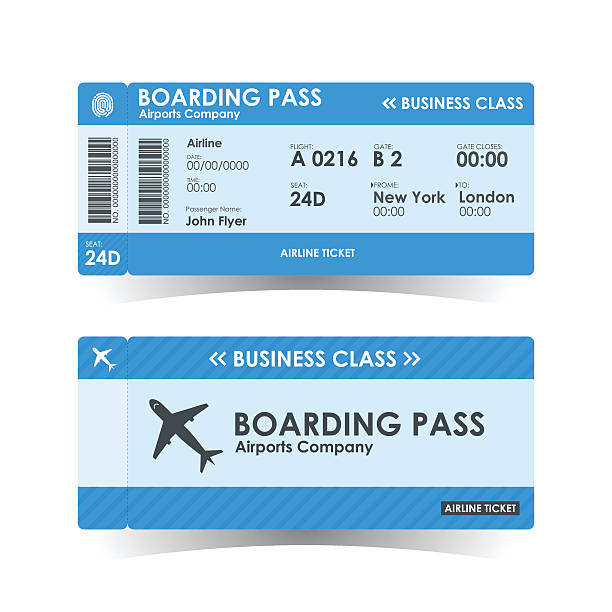 boarding pass tickets blue design. vector illustration. - airplane ticket stock illustrations