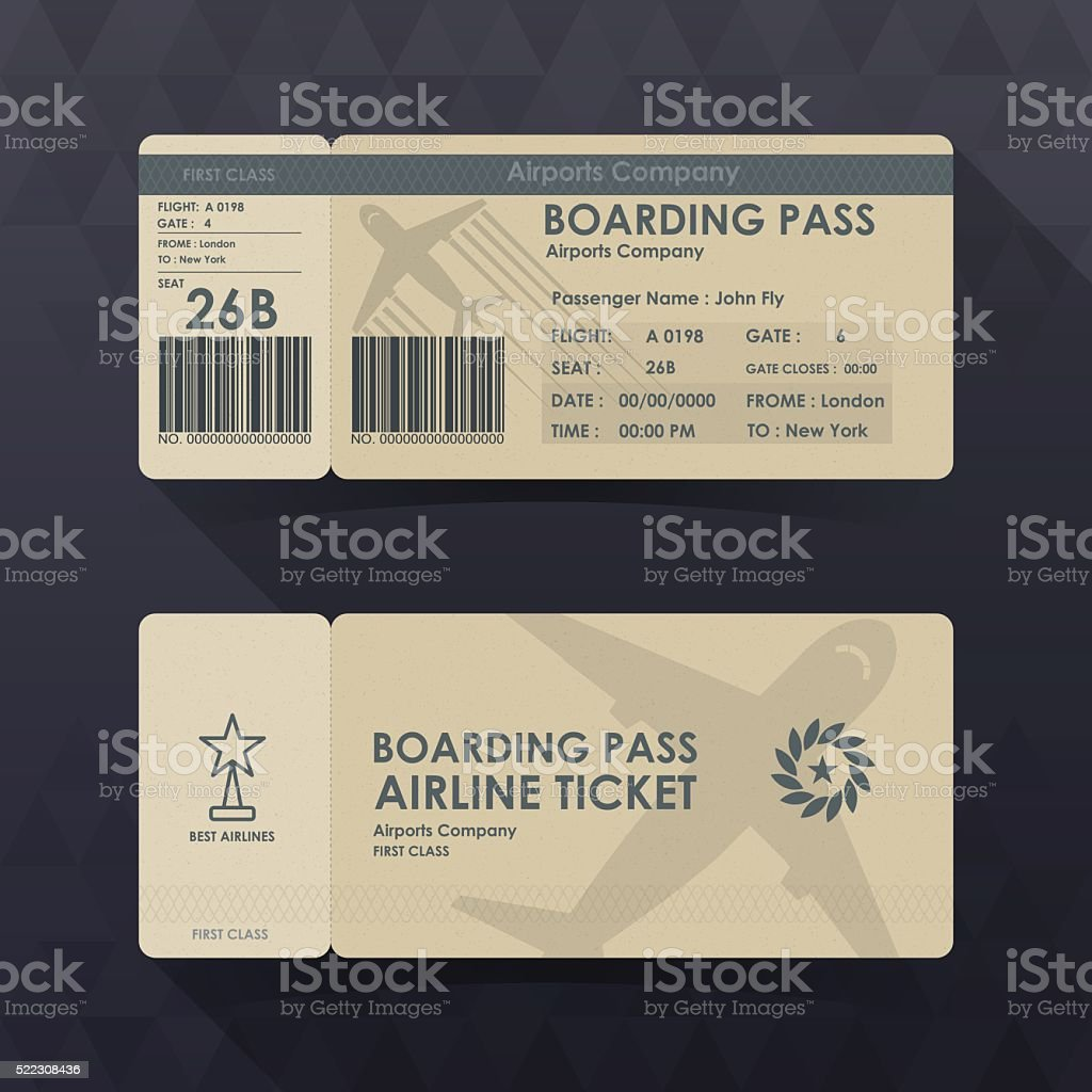Boarding pass tickets brown paper design. vector illustration. vector art illustration