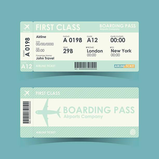 Boarding Pass Tickets Green Design Vector Illustration Art