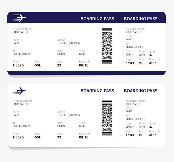 Boarding pass Airline boarding pass ticket for traveling by plane. Vector illustration. airplane ticket stock illustrations