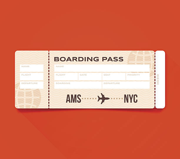 Boarding Pass Airplane boarding pass flying information concept with space for copy. EPS 10 file. Transparency effects used on highlight elements. airplane ticket stock illustrations