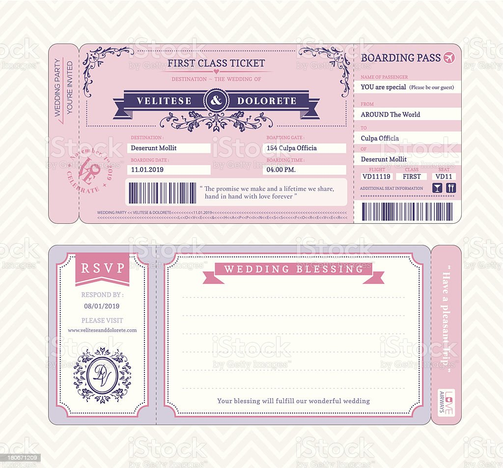 Bordkarte Hochzeit Einladung Vorlage Stock Vektor Art und mehr ...