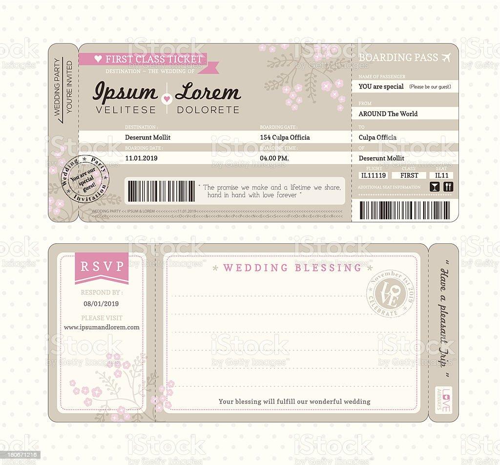 Boarding Pass Wedding Invitation Template vektorkonstillustration