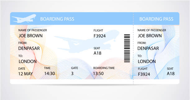 Boarding pass (ticket, traveler check template) with aircraft (airplane or plane) silhouette on background Travel by Aerial Transport. Enjoy your vacation. Isolated vector on white airplane ticket stock illustrations