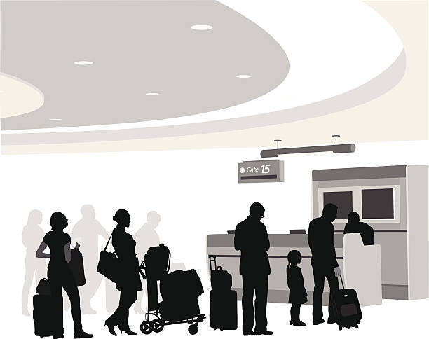 Boarding A-Digit airport silhouettes stock illustrations