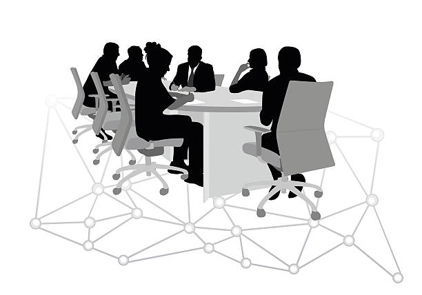 Boardroom Connect vector art illustration