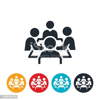 An icon of a boardroom meeting. Four business people sit around a boardroom table as part of the meeting.