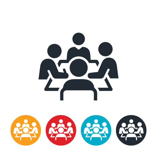 Boardroom Meeting Icon An icon of a boardroom meeting. Four business people sit around a boardroom table as part of the meeting. meeting stock illustrations