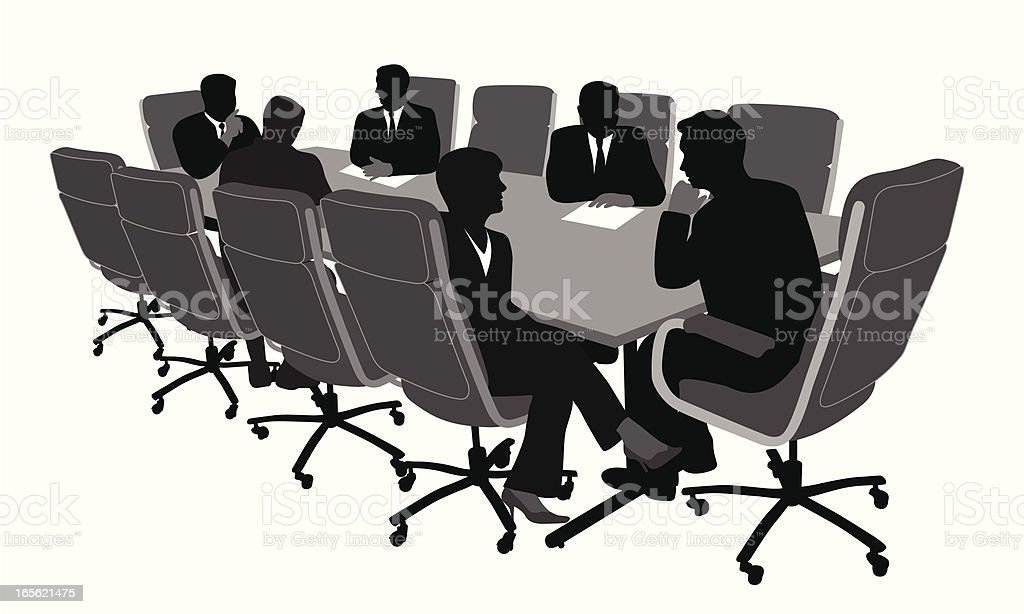 Boardroom Meeting Vector Silhouette royalty-free boardroom meeting vector silhouette stock vector art & more images of adult