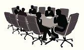 Boardroom Meeting Vector Silhouette