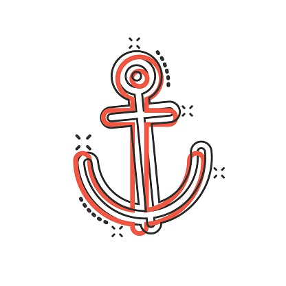 Boat anchor icon in comic style. Vessel hook cartoon vector illustration on white isolated background. Ship equipment splash effect business concept.