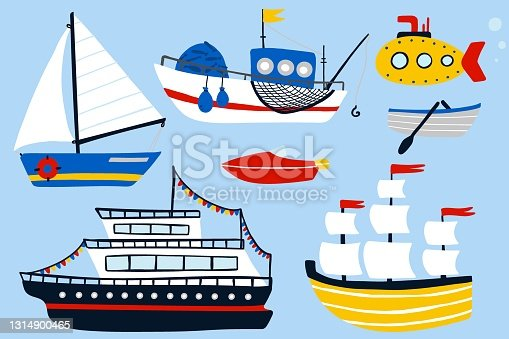 Boat and ship set. Cartoon hand drawn colorful sail childish collection, water transport, sailing yacht, sailboat and submarine, kids design elements. Baby adventure and travel vector isolated set