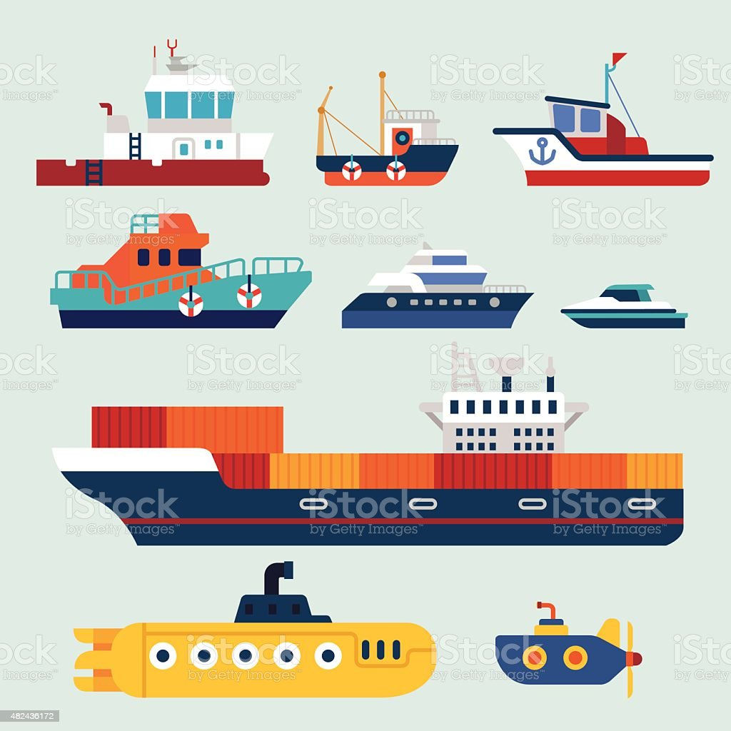 boat and ship vector art illustration