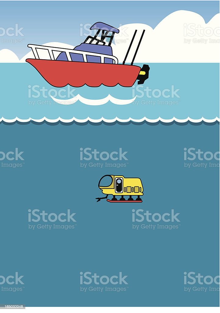 boat and submersible vector art illustration