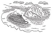 Boat At Loreley Rock Rhine River Drawing