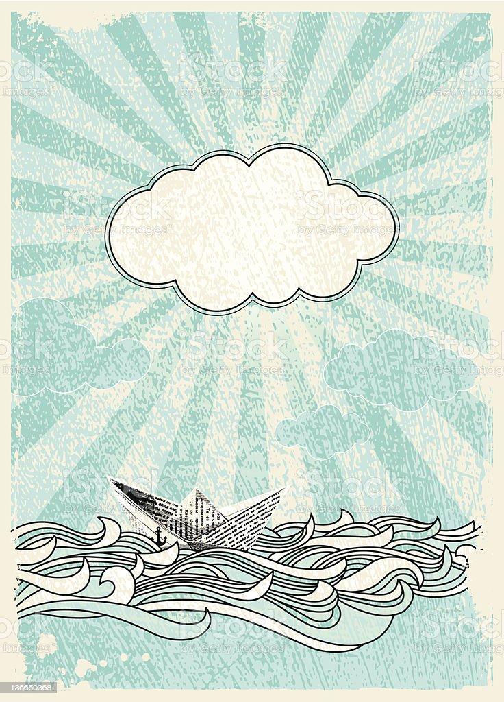 Boat at Sea vector art illustration