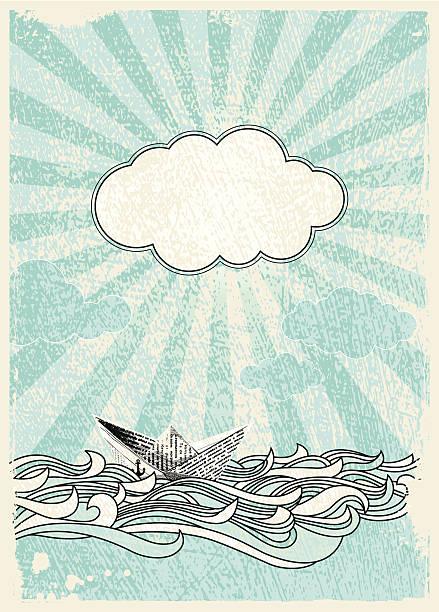 boat at sea - river paper stock illustrations, clip art, cartoons, & icons