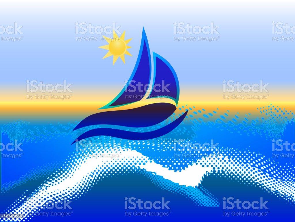 Boot Blaue Wellen Und Sonne Meer Strand Rahmen Bild Bildsymbol Stock ...