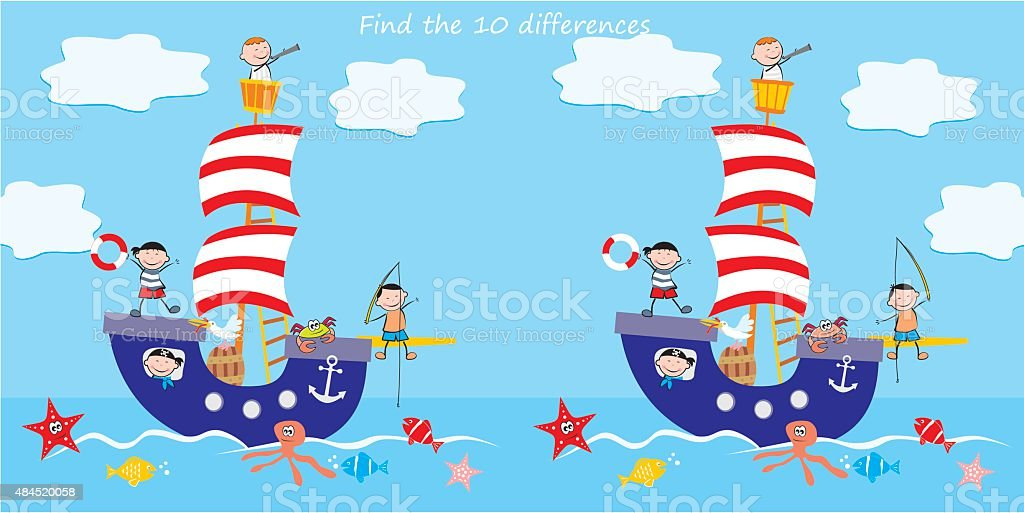 boat, find ten differences vector art illustration