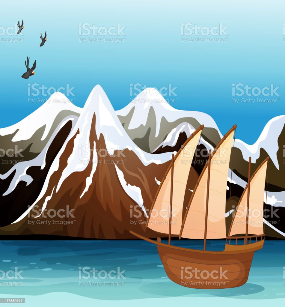 Boat floating near the mountain area royalty-free stock vector art