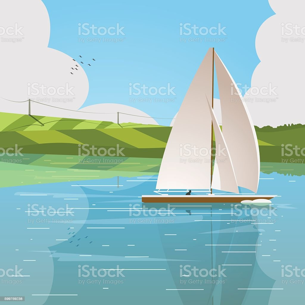 Boat floats on the river vector art illustration