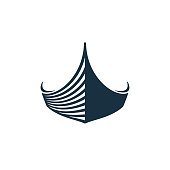 Wooden boat on white background. Vector illustration icons.