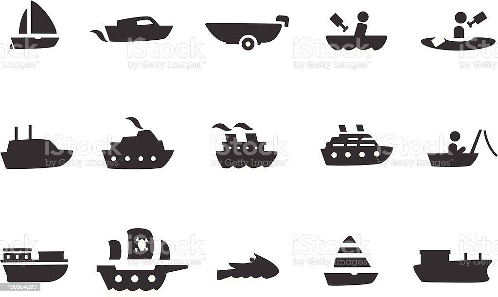 Ensemble d'icônes de transport en bateau - Illustration vectorielle