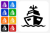 Boat Icon Square Button Set. The icon is in black on a white square with rounded corners. The are eight alternative button options on the left in purple, blue, navy, green, orange, yellow, black and red colors. The icon is in white against these vibrant backgrounds. The illustration is flat and will work well both online and in print.