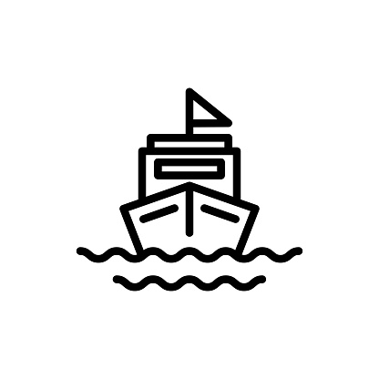 Boat icon vector illustration, vacation summer season yacht logo icon with outline style
