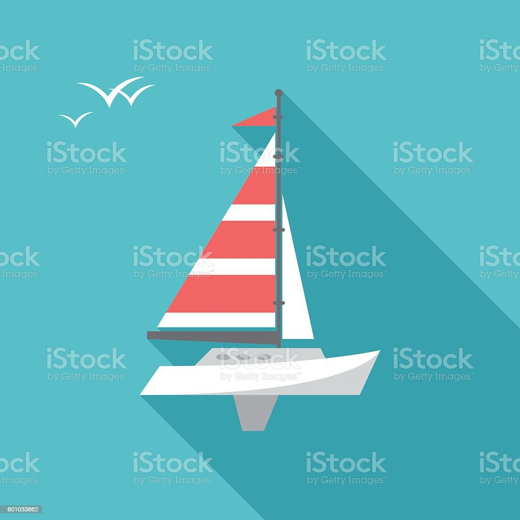 Boat icon with long shadow. vector art illustration