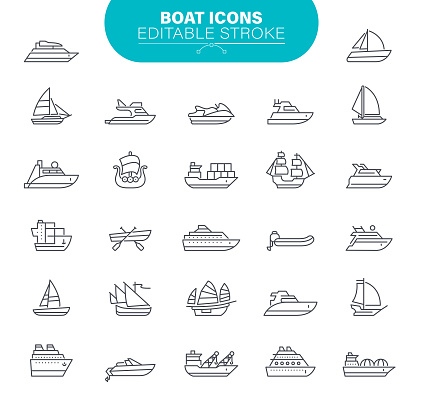 Boat Icons. Set contains symbol as Transportation; Sailboat, Ship, Nautical Vessel