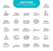 Water transportation, ships, ailboat, yacht, speedboat, Editable Icon Set