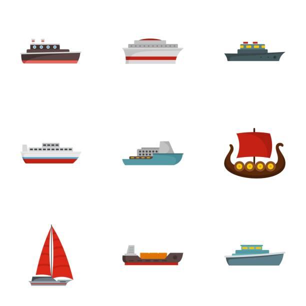 boot icons set, flachen stil - funktionssofa stock-grafiken, -clipart, -cartoons und -symbole