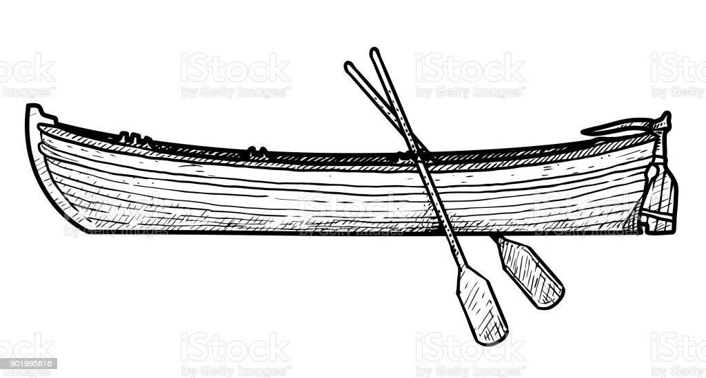 Illustration de bateau, dessin, gravure, encre, dessin au trait, vecteur - Illustration vectorielle