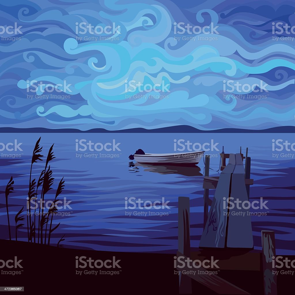 Boat in twilight vector art illustration