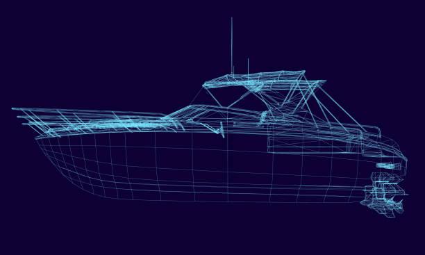 illustrations, cliparts, dessins animés et icônes de modèle de bateau - voilier à moteur