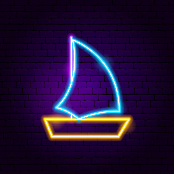 Boat Neon Label vector art illustration