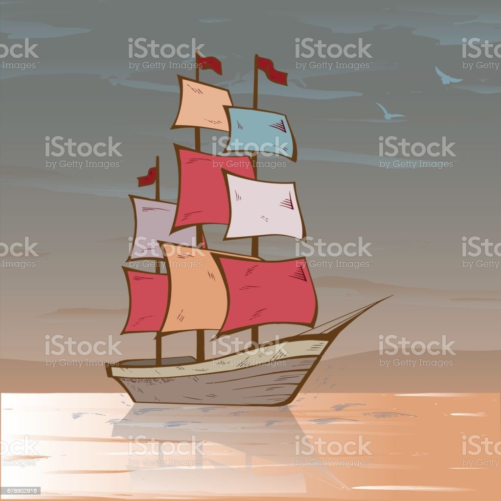 Boat on sea drawing. Sailboat sketch royalty-free boat on sea drawing sailboat sketch stok vektör sanatı & antik'nin daha fazla görseli