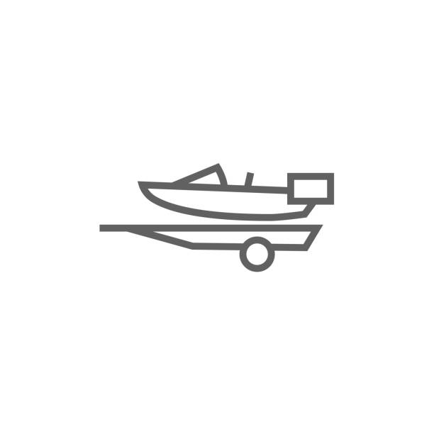 Boat on trailer for transportation line icon vector art illustration