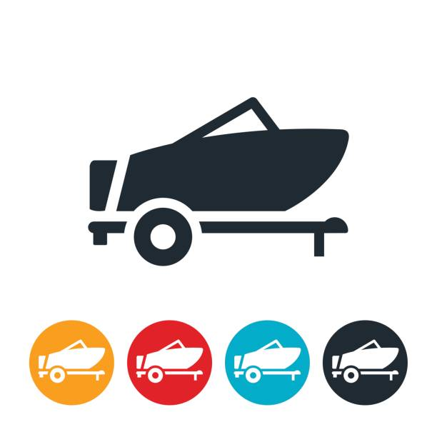 Boat On Trailer Icon vector art illustration
