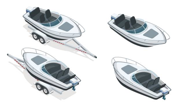 Boat or cutter on a trailer. The launching of a small motor boat at a ramp. Flat 3d isometric high quality water transport vector art illustration