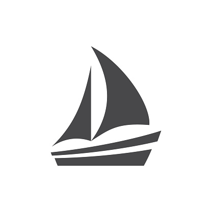 Boat or yacht simple black vector icon
