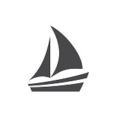 istock Boat or yacht simple black vector icon 1254587902