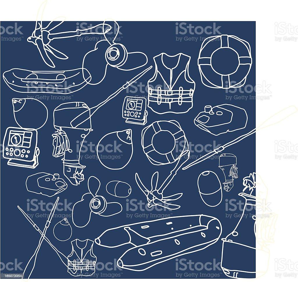 Boat Parts vector art illustration