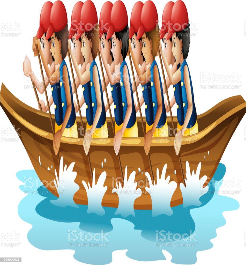 Boat racing vector art illustration