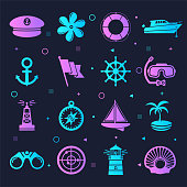 Boat sailing and accessories neon style silhouette symbols on dark background. Vector icons set for infographics, mobile or web page designs.