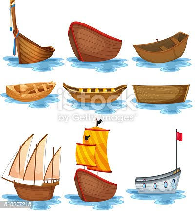 Illustration of different kind of boats