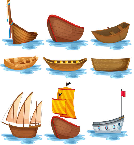 Boat setvectorkunst illustratie