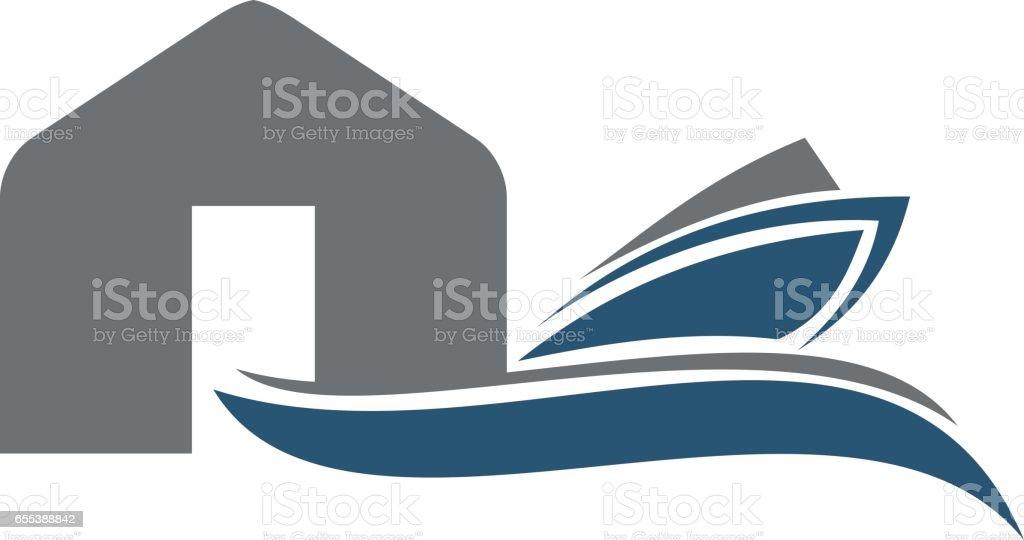 Boat Shed Repair Workshop vector art illustration